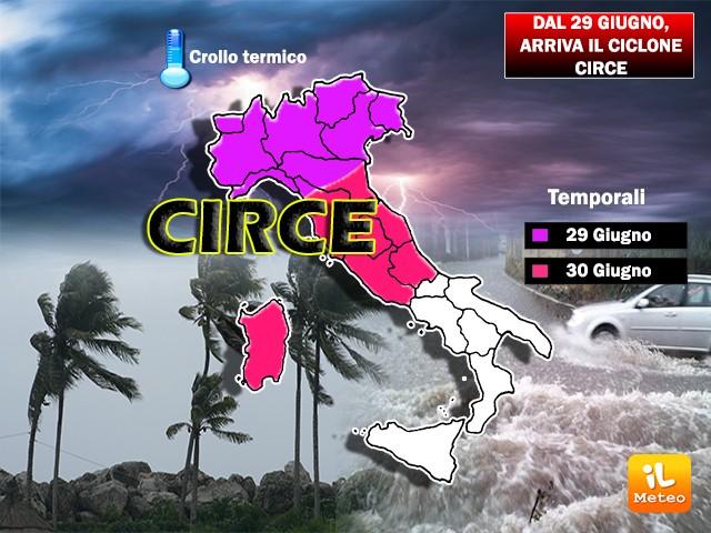 Il ciclone Circe farà sparire Caronte