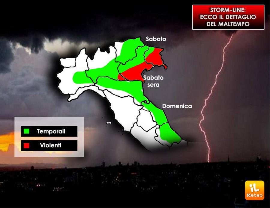 Le zone più colpite dal maltempo di Storm-Line
