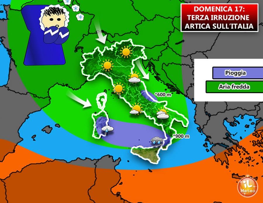 Domenica, ecco la terza irruzione artica sull'Italia. Temperature in calo