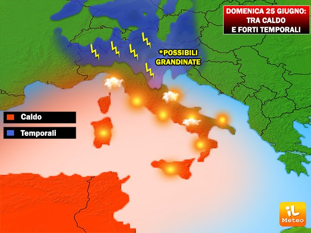 Temporali in transito al Nord e Adriatiche