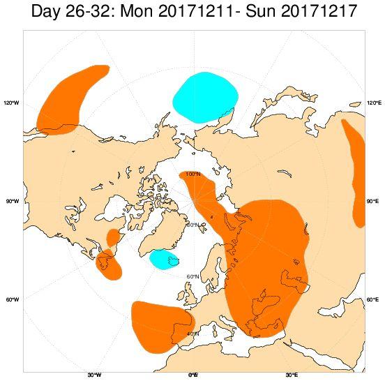 Mappa esclusiva ECMWF: anomalie bariche positive su Penisola Iberica e sull'Europa orientale