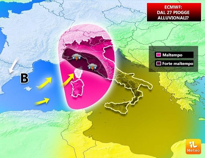 Visione ecmwf: piogge alluvionali verso l'Italia