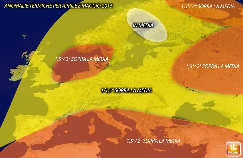 Anomalie termiche previste per Aprile-Maggio