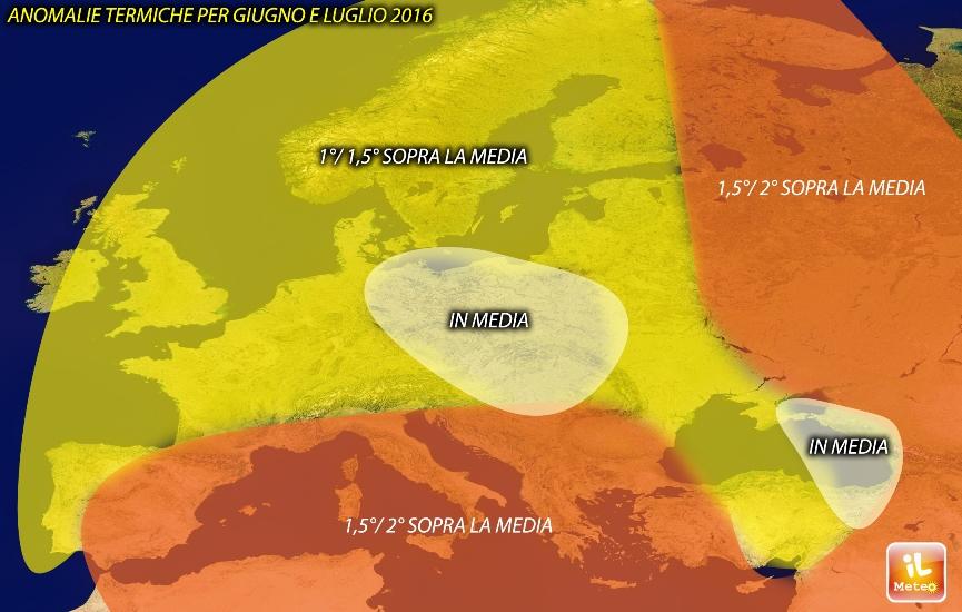 Anomalie termiche previste per Giugno-Luglio