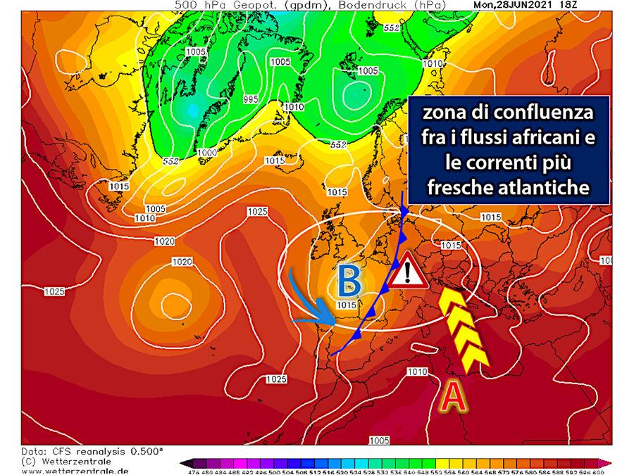 Maltempo sull'Europa centrale a causa della confluenza dei flussi caldi africani e dell'aria atlantica