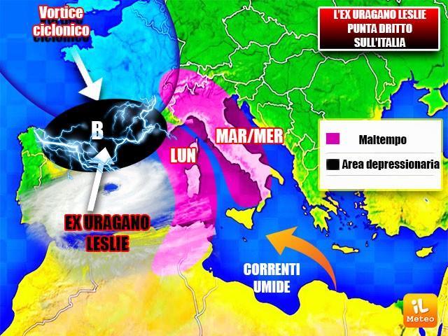 Fusione tra l'ex Uragano Leslie e un ciclone Islandese con effetti fin sull'Italia