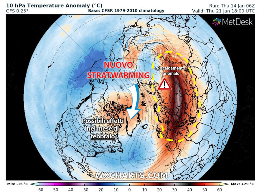 New Stratwarming: riscaldamento anormale e inaspettato della stratosfera sopra il Polo Nord