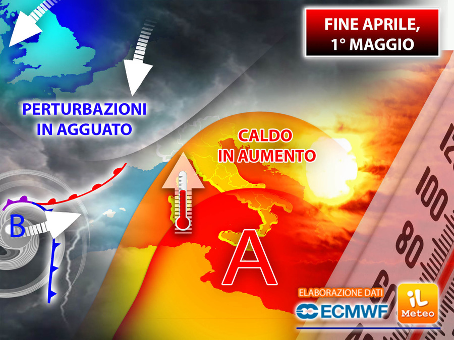 Fine aprile: caldo in aumento al Centro Sud. Perturbazioni invece al Nord