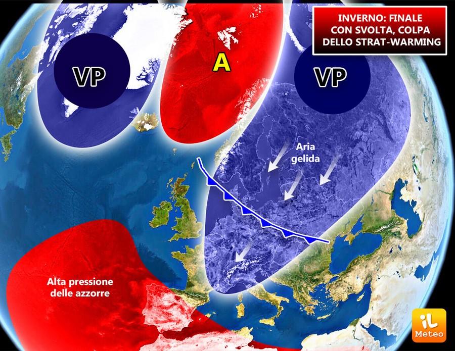 Strat-warming responsabile dell'ondata di gelo