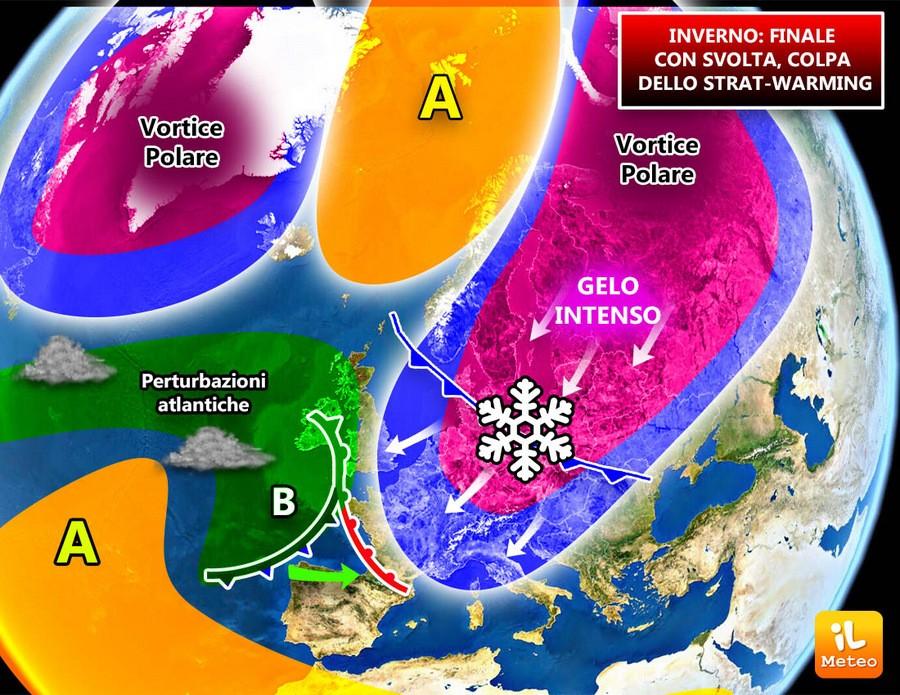 Split (scissione) del vortice polare in due lobi, uno si dirigerà verso l'Europa