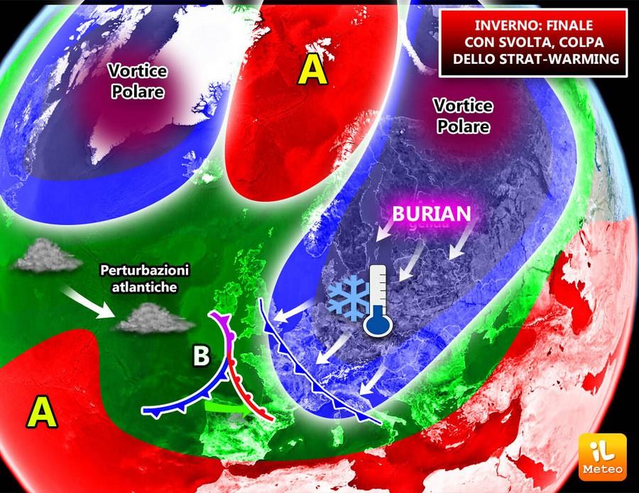 Scissione del Vortice Polare a causa dello Strat-Warming