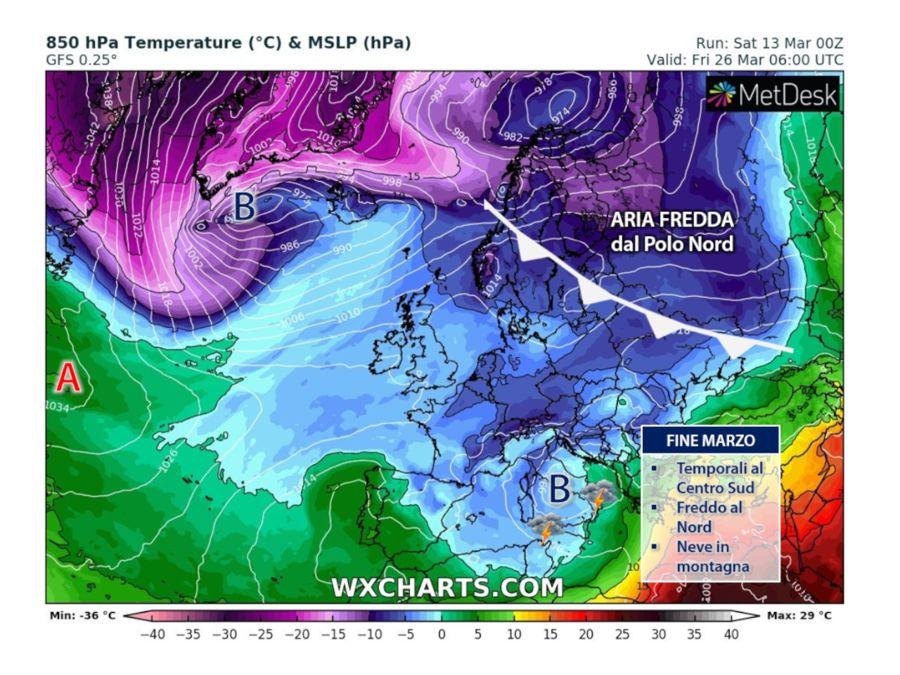 Des courants givrés du pôle Nord vers l'Italie. Mauvais temps avec des orages dans le Centre Sud