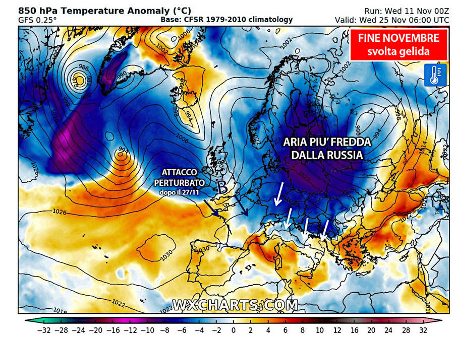 Dopo il 24/25 novembre aria molto fredda dalla Russia. Poi dal 27/11 attacco perturbato