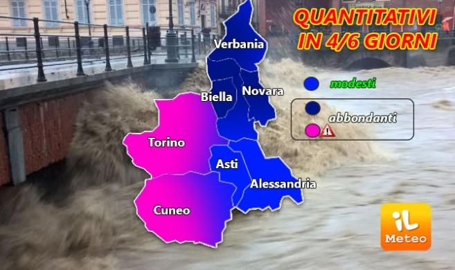Tanta pioggia sul Piemonte per i prossimi giorni