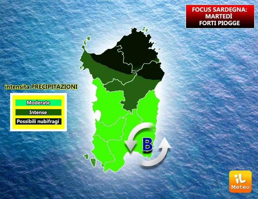 Piogge previste sulla Sardegna