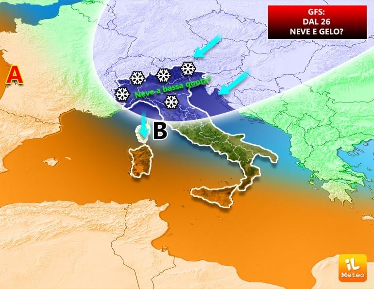 Visione gfs: freddo e neve a bassa quota verso l'Italia
