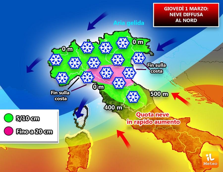 Giovedì 1 Marzo, arriva la neve al Nord, anche sulla costa ligure e a Rimini