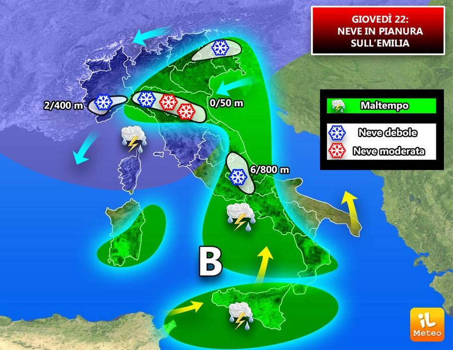 Precipitazioni attese per Giovedì 22