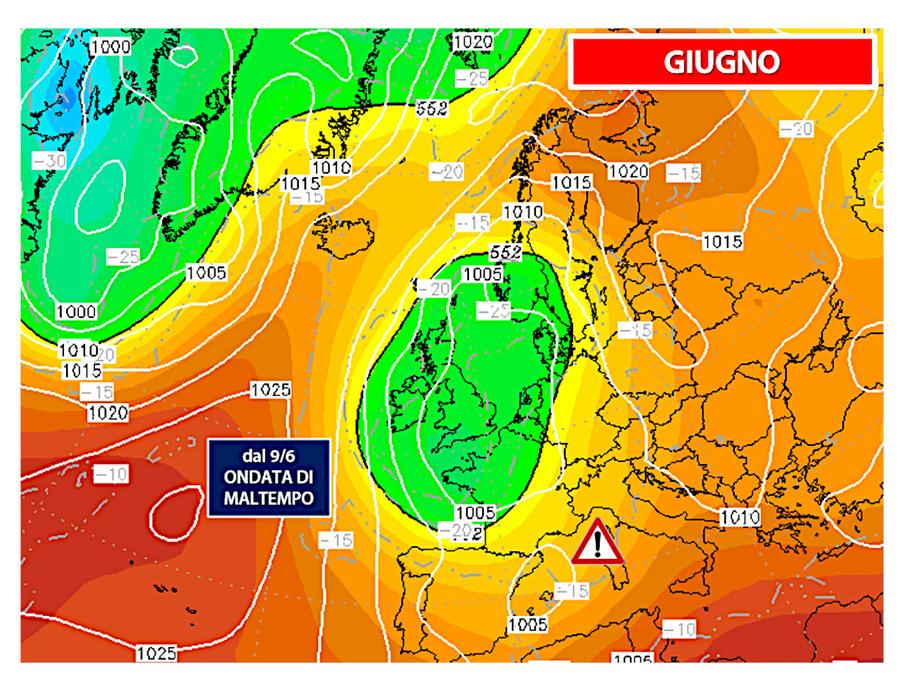 Dal 9 giugno possibile ondata di maltempo