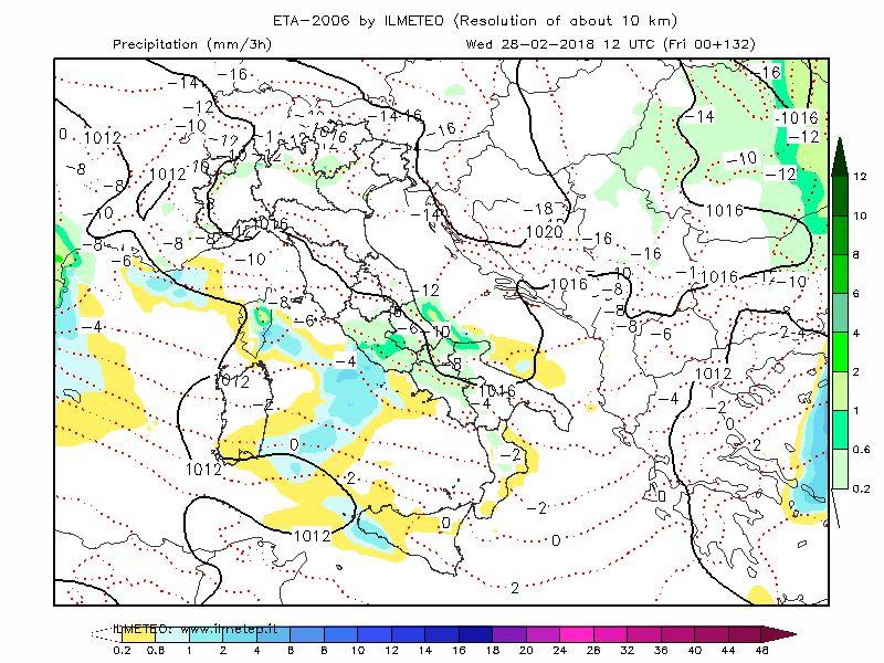 Mappa tecnica ETA-ZEUS: in verde la neve prevista a Roma