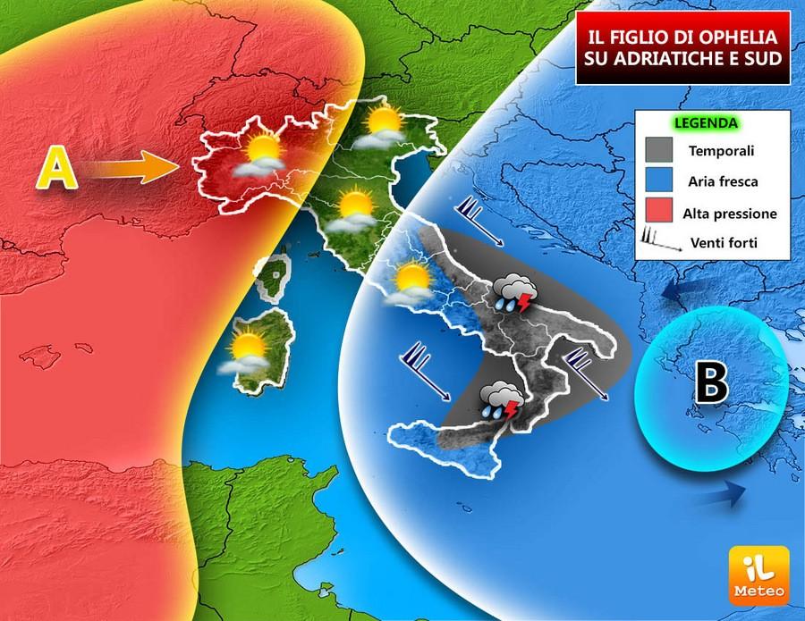 Maltempo a tratti su Adriatiche e Sud