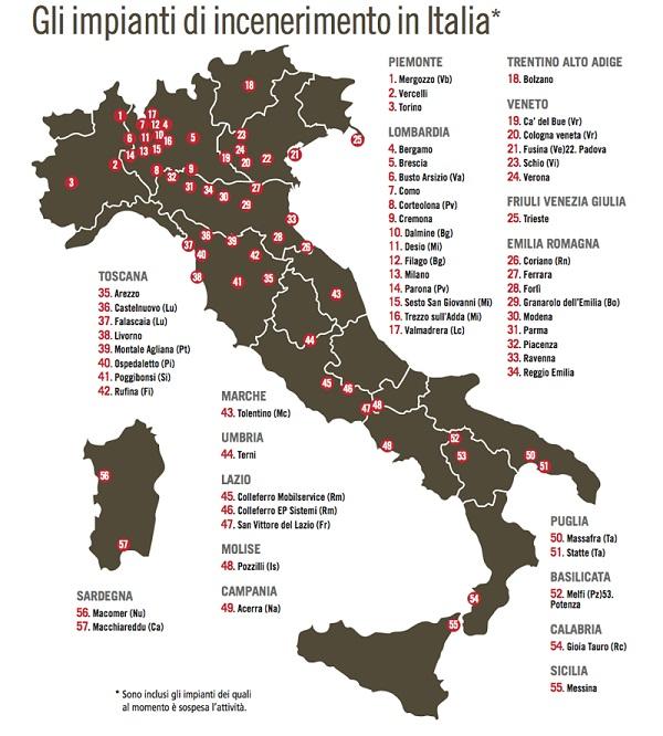 Mappa degli inceneritori in Italia