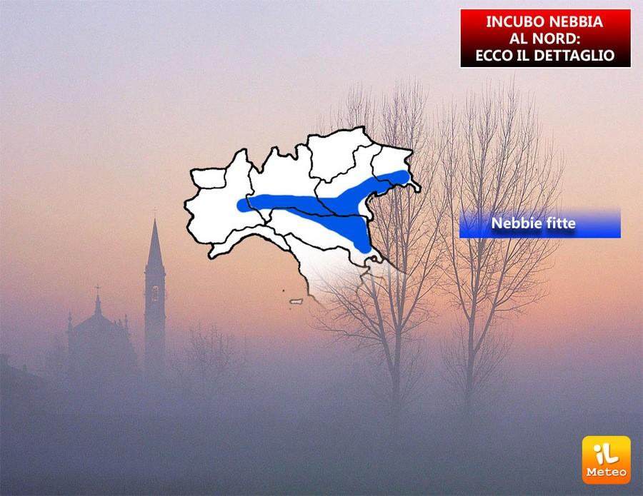 Zone più colpite dalla nebbia