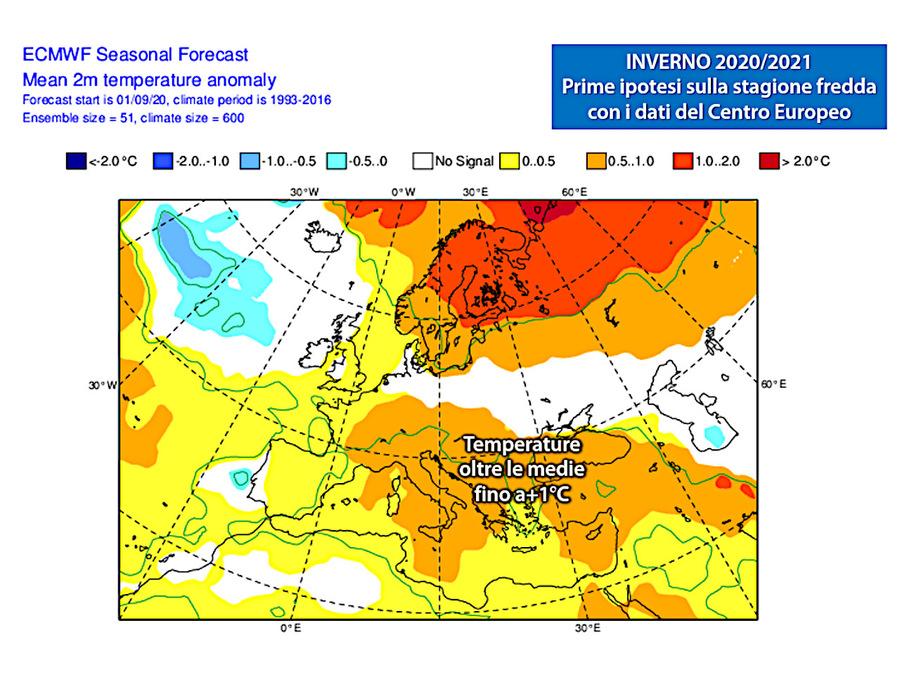 Temperature sopra la media fino a + 1 ° C su gran parte dell'Italia (fonte: ECMWF)