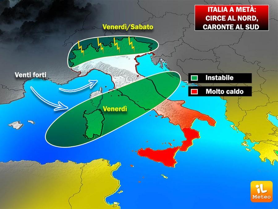 Caronteinfiamma al Sud Circe porta temporali ancora al Nord