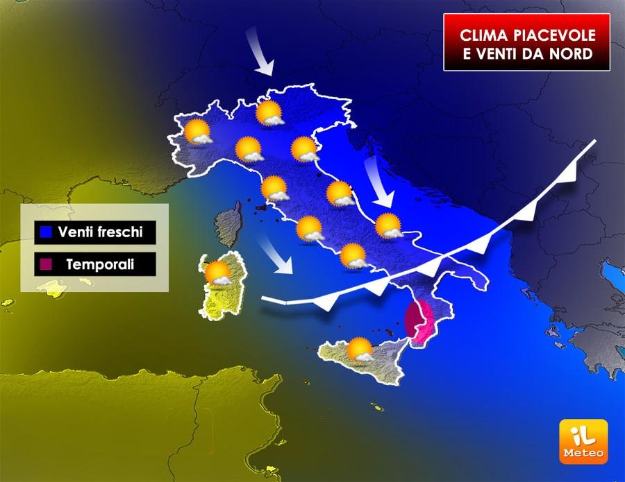 Bel tempo prevalente sull'Italia