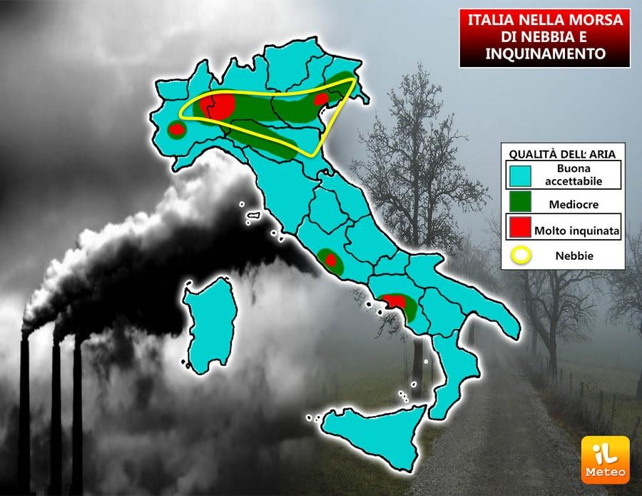 Nebbia e inquinamento avvolgono molte zone d'Italia