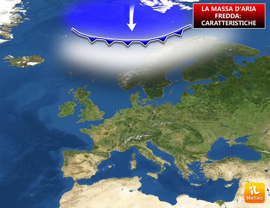 La massa d'aria fredda ha origine sulle zone polari