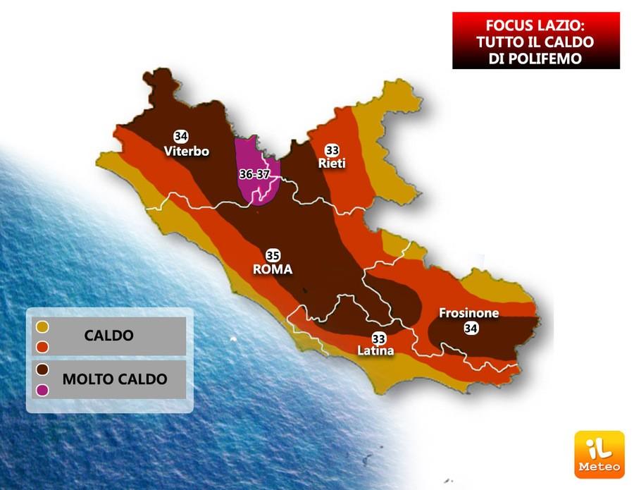 Temperature previste sul Lazio dopo il 26 Agosto