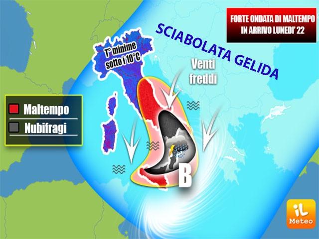 Forte ondata di maltempo in arrivo sulle Regioni del Sud Lunedì 22 Ottobre