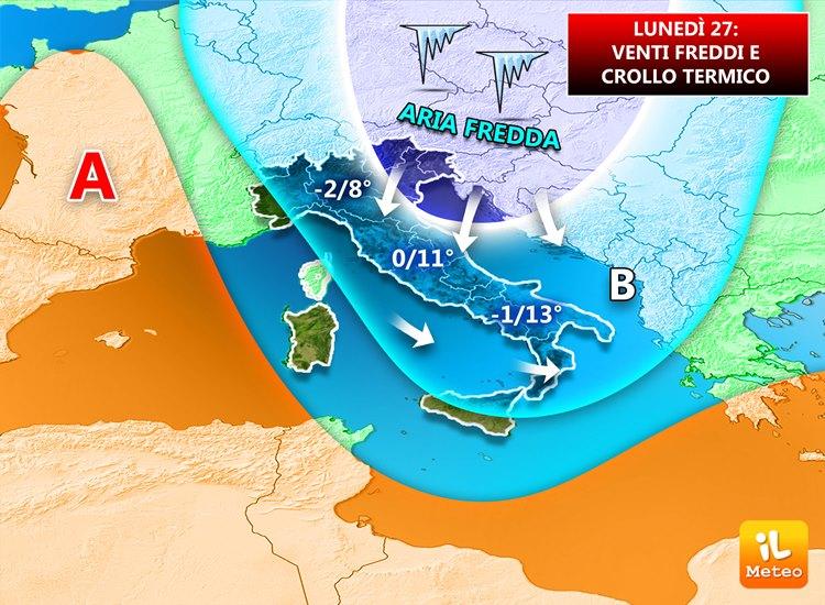 Brusco calo termico in arrivo sull'Italia, e venti Settentrionali