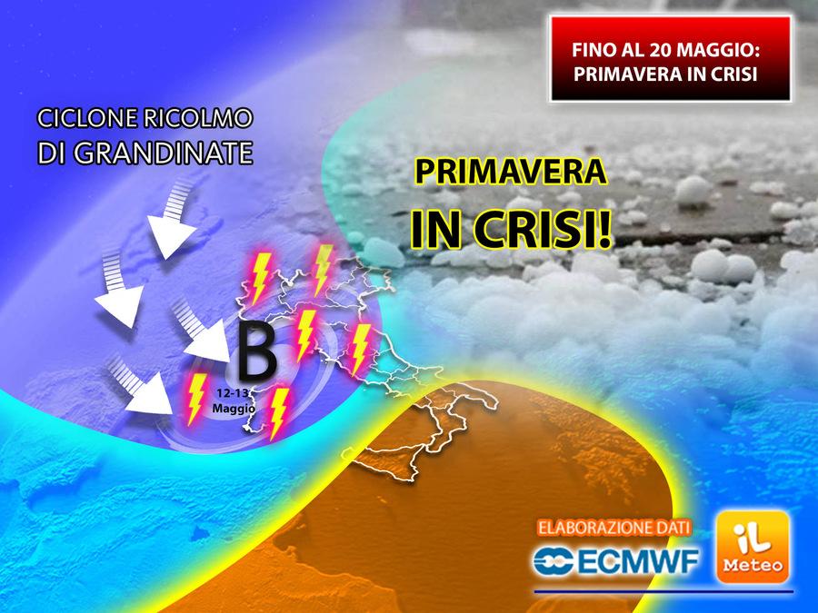 Maggio: primavera in crisi almeno fino al 20 con nuove piogge e temporali