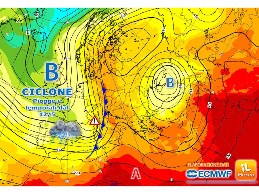 Mai, à partir du 12, un cyclone dangereux vers l'Italie