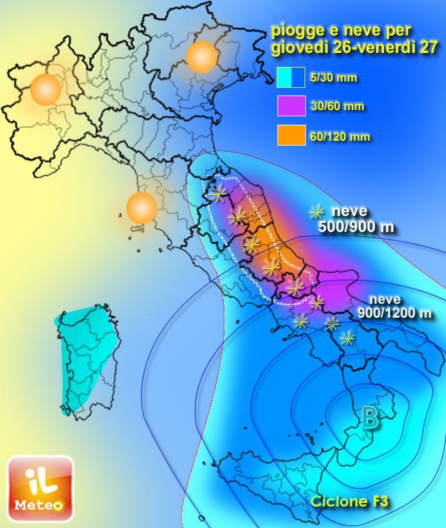 Posizione del Ciclone F3 per la sera-notte prossime. Previsione aree con maltempo, neve e quote