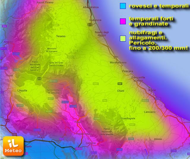 Previste piogge abbondanti: allerta meteo per venerdì 15 e sabato 16 luglio