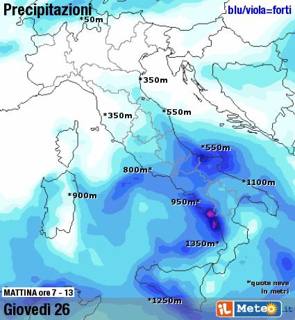 Dettaglio precipitazioni Giovedì mattina 26 Novembre 2015