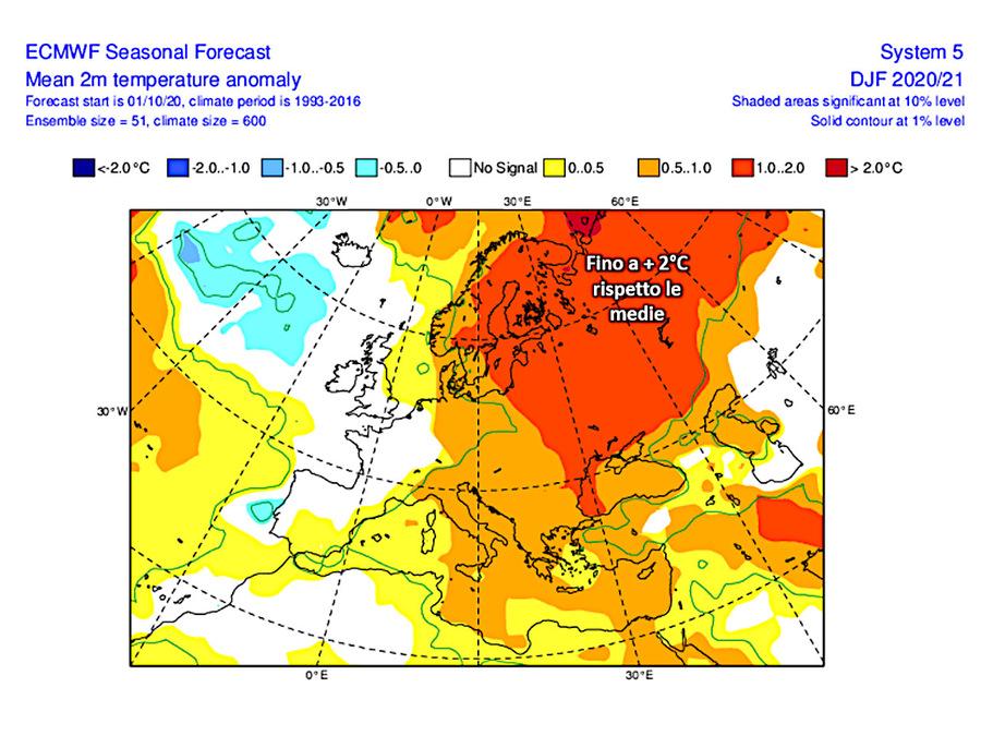 Mappa 1: ultimo aggiornamento delle previsioni stagionali Ecmwf