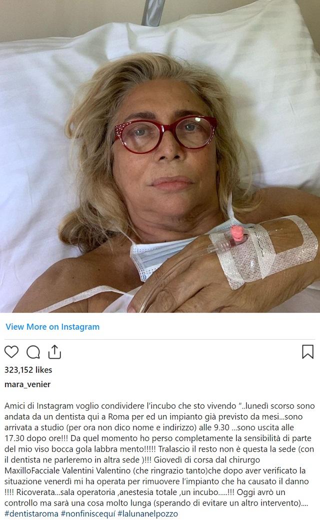 Il posto di Mara Venier su Instagram, che spiega la storia