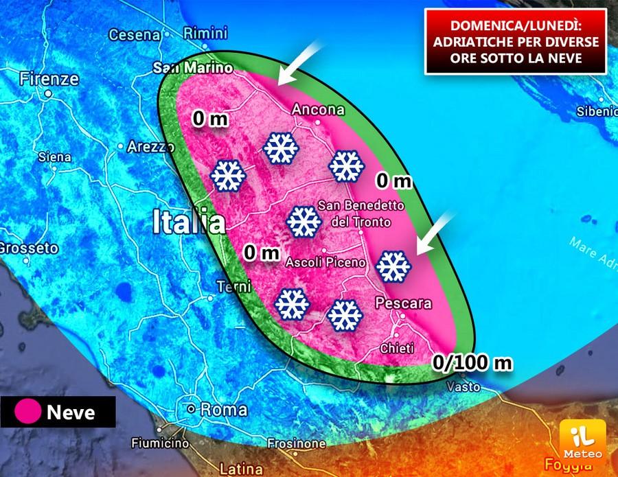 Tra Domenica e Lunedì inizierà a nevicare fino a bassa quota tra Marche e Abruzzo