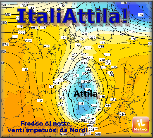 Sciabolata ARTICA di Attila: 10° C in meno!