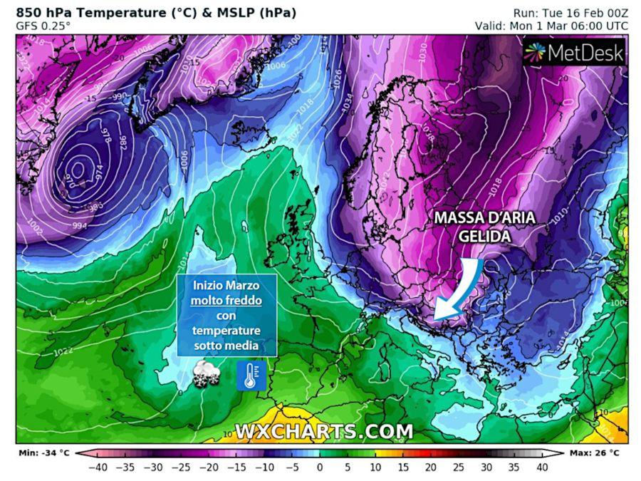 Una gelida massa d'aria trovata tra la Scandinavia e la Russia sta scendendo verso l'Italia