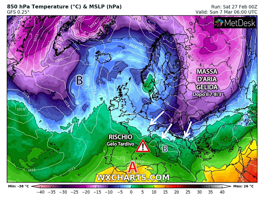 Massa d'aria fredda dal Polo Nord verso l'Italia per la Festa della Donna