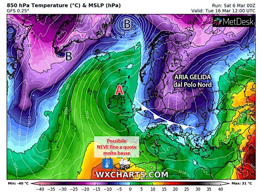 Seconda metà di marzo: aria gelida verso l'Italia, rischio di temporali e pure nevicate
