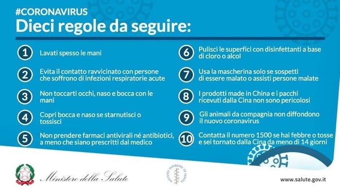 Coronavirus regole del ministero salute