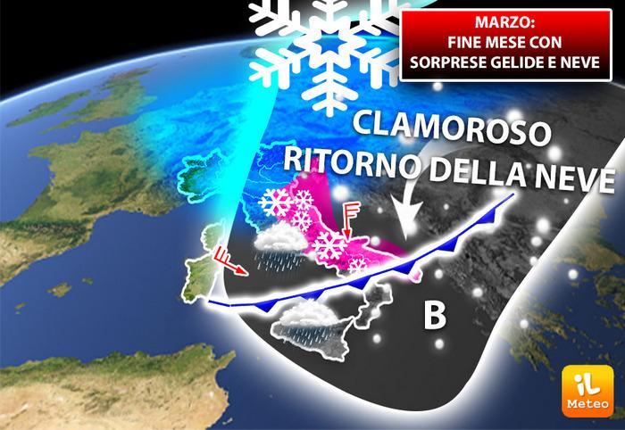Seconda metà di Marzo piuttosto instabile con il possibile ritorno della neve nell'ultima settimana