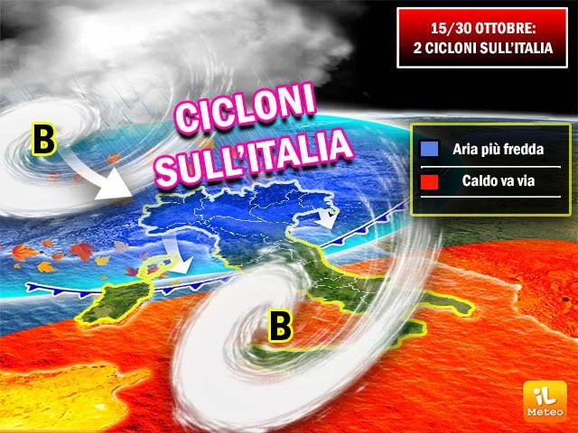 Due vortici ciclonici in discesa dall'Islanda fin sul nostro Paese